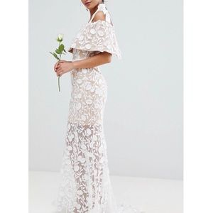 Jarlo London Embroidered Lace Tie Maxi Dress